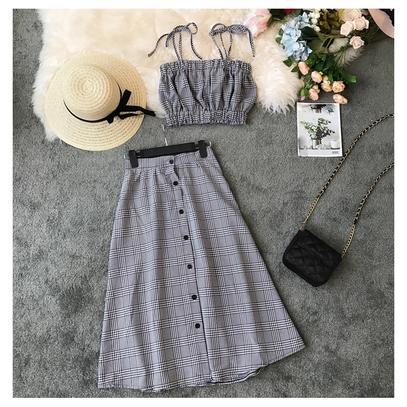 Pop Tide Nice Fashion Women Lace Up Plaid Two Piece Sets Slim Button Spaghetti Strap Tops   A-Line Skirts