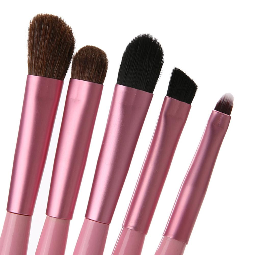Купить с кэшбэком 5pcs/set Eyeshadow Brushes Kit With Storage Holder Cosmetic Make Up Brushes Portable Makeup Brush Tool