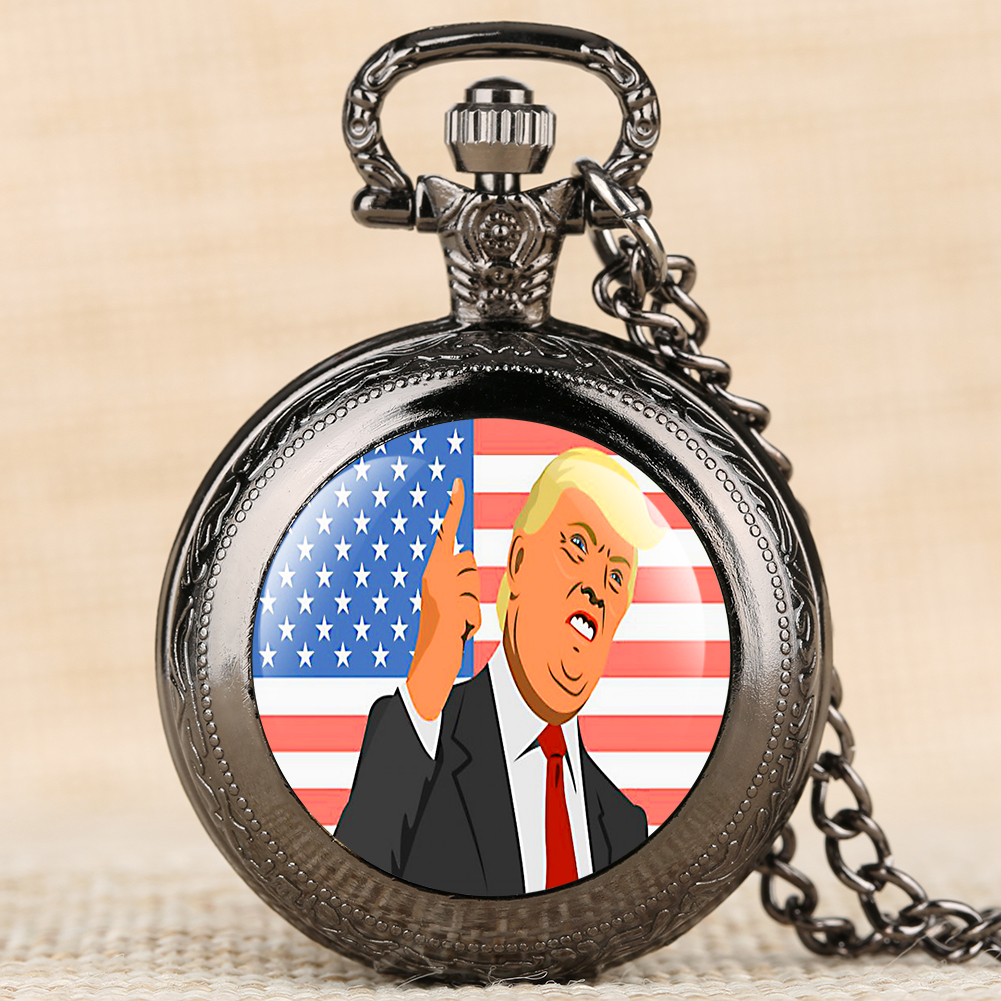 US Flags With Trump Pocket Watch US Election Trump Theme Necklace Chain Pendant Clock Hours Supporters Watch Unisex Relgio