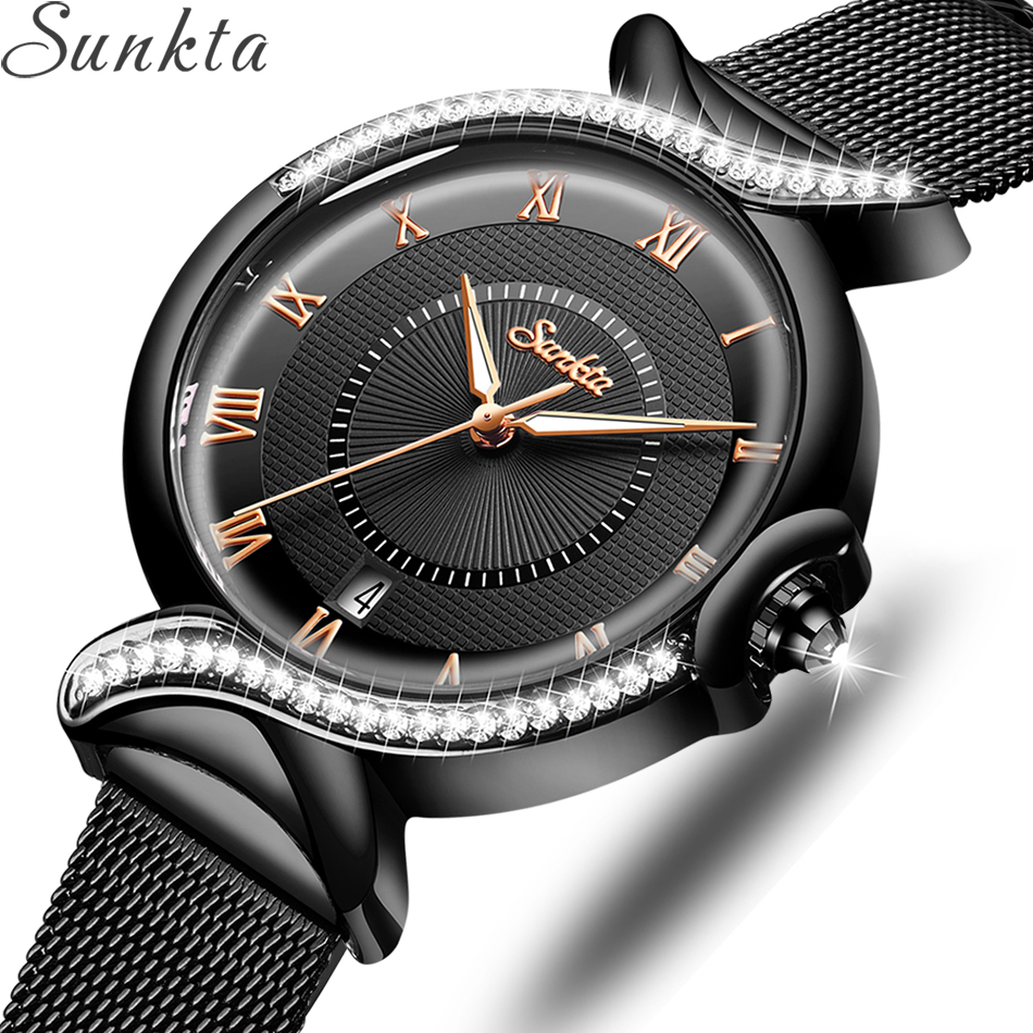 SUNKTA 2020 Watch Women NEW Luxury Brand Fashion Stainless Steel Ladies Wrist Watches Black Wristwatches For Women Montre Femme