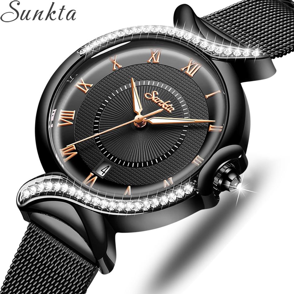 SUNKTA 2020 Watch Women NEW Luxury Brand Fashion Stainless Steel Ladies Wrist Watches Black Wristwatches For Women Montre Femme