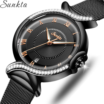 SUNKTA 2020 Watch Women NEW Luxury Brand Fashion Stainless Steel Ladies Wrist Watches Black Wristwatches For Women Montre Femme ibso hit color watches for female fashion cut glass design women quartz watch ladies magnet buckle wrist watches montre femme