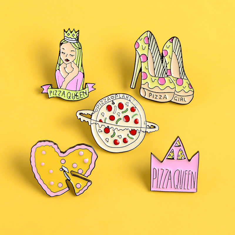 Pizza emaye pimleri pembe sarı taç kraliçe yüksek topuklu ayakkabılar broş takı kalp gezegen yaka rozeti kadınlar moda yaratıcı