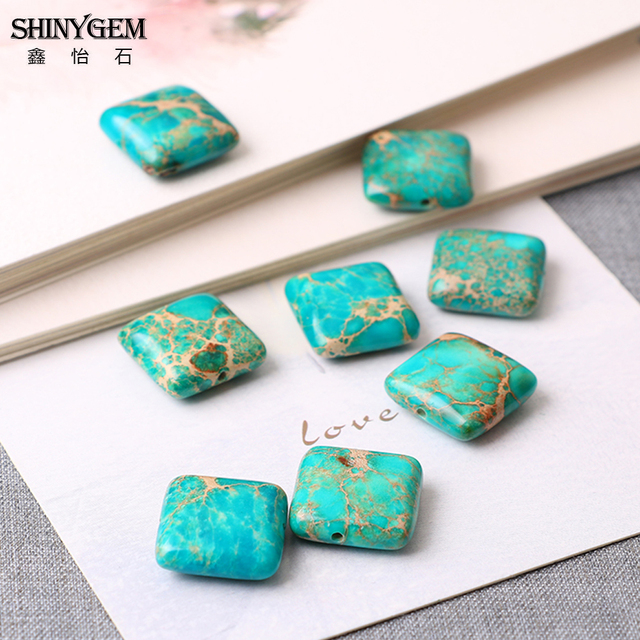 Emperor pine beads natural stone 14mm square shape see sediment
