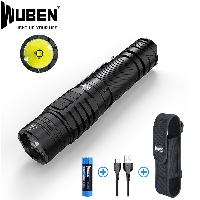 WUBEN Tactical LED Flashlight CREE XP-L-V6 LED Bulbs 1200 Lumens USB Rechargeable IPX8 Waterproof With 18650 Li-Battery TO40R