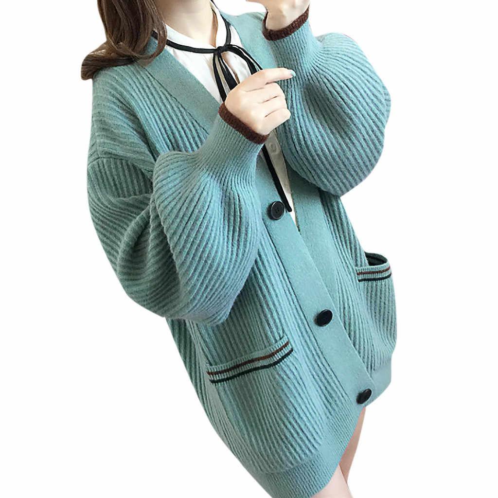 Мягкий Теплый Женский пуловер на пуговицах, вязаный свитер с карманами, кардиган в Корейском стиле, Распродажа женской одежды