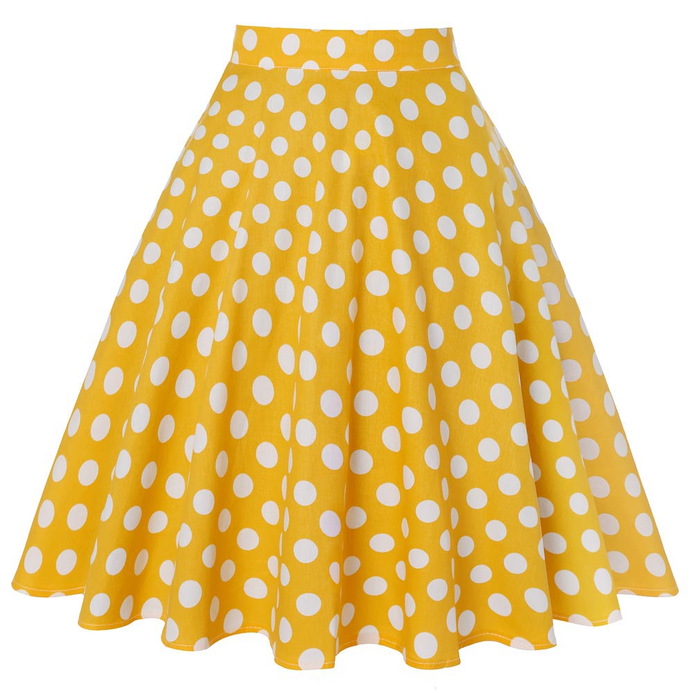 2020 Vintage Short Women Yellow Skirt Polka Dot Skirts Womens Ladies New Cotton High Waist Swing Summer Skirt