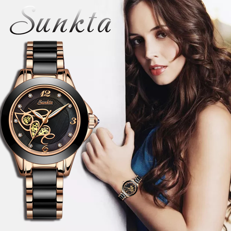 SUNKTA Diamond Surface Ceramic Strap Watch Fashion Waterproof Women Watches Top Brand Luxury Quartz Watch Women Relogio Feminino