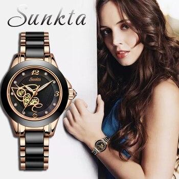 SUNKTA Diamond Surface Ceramic Strap Watch Fashion Waterproof Women Watches Top Brand Luxury Quartz Watch Women Relogio Feminino