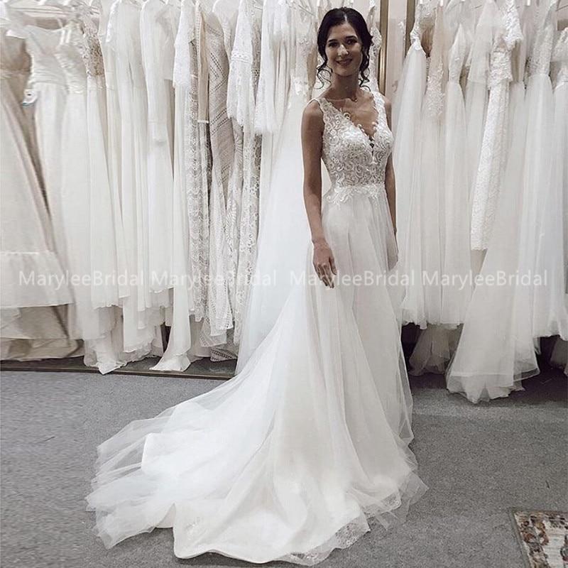 Bohemia Beach Wedding Dress 2020 Vestido De Noiva V Neck Backless Long Bridal Dress Vintage Appliques Boho Suknia Slubna Custom
