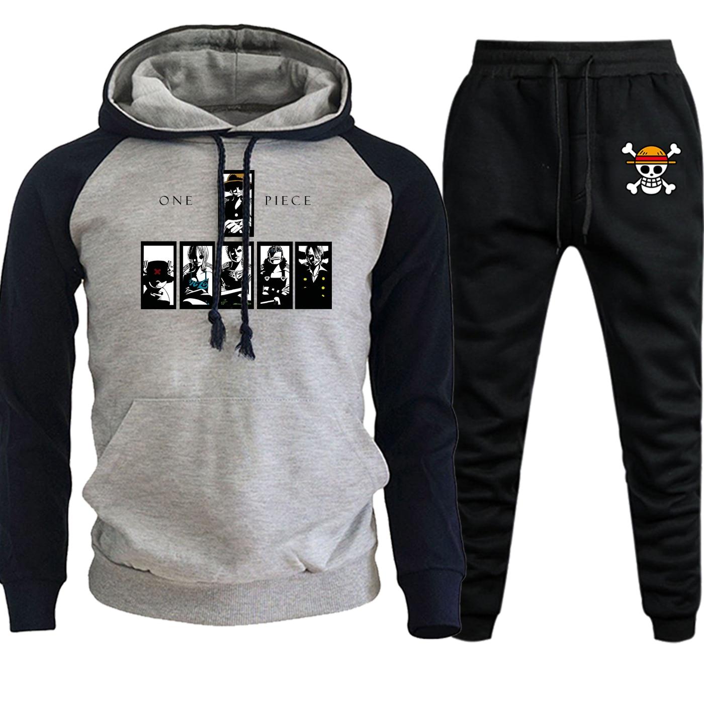 Cartoon Hoodies Men Raglan Sportswear One Piece Japan Anime New Autumn Winter 2019 Suit Hip Hop Fleece Hooded+Pants 2 Piece Set