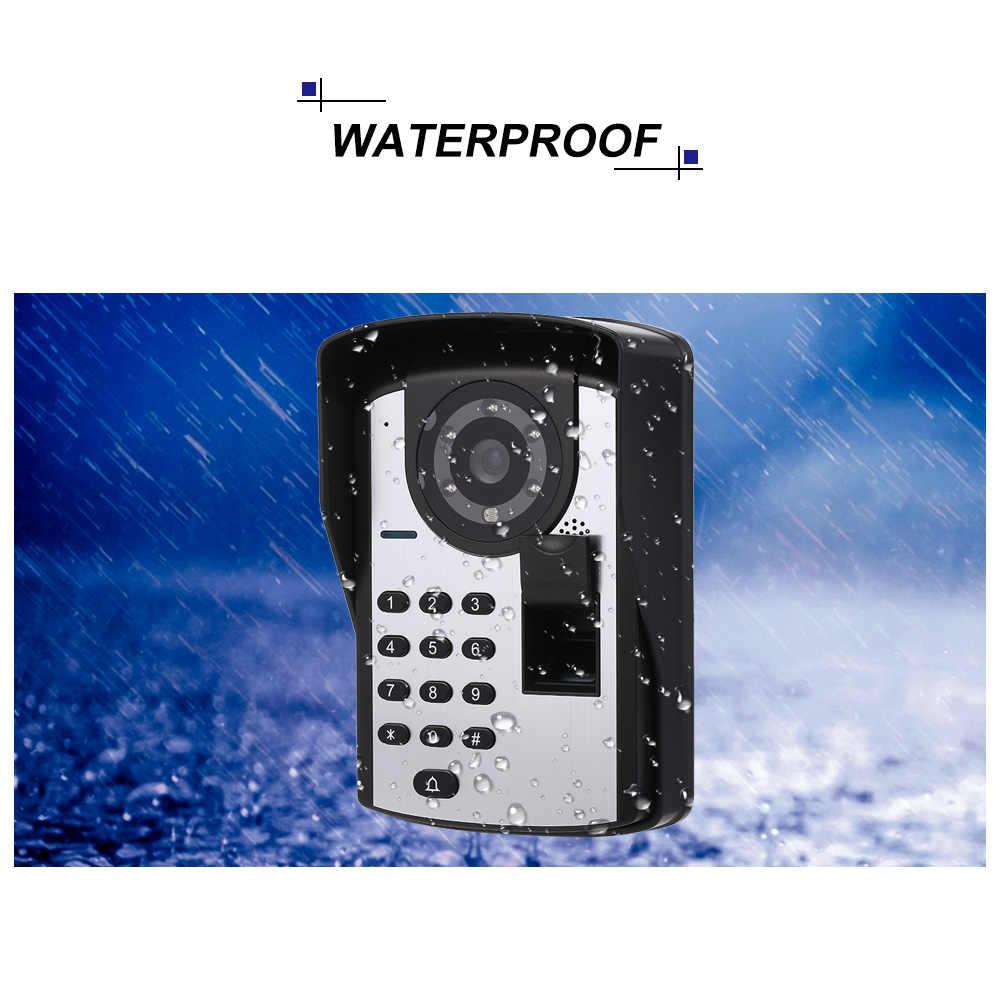 7 بوصة فيديو إنترفون ثقب الباب الجرس رصد بصمة كلمة السر التحكم عن بعد HD كاميرا جرس الباب نظام اتصال داخلي