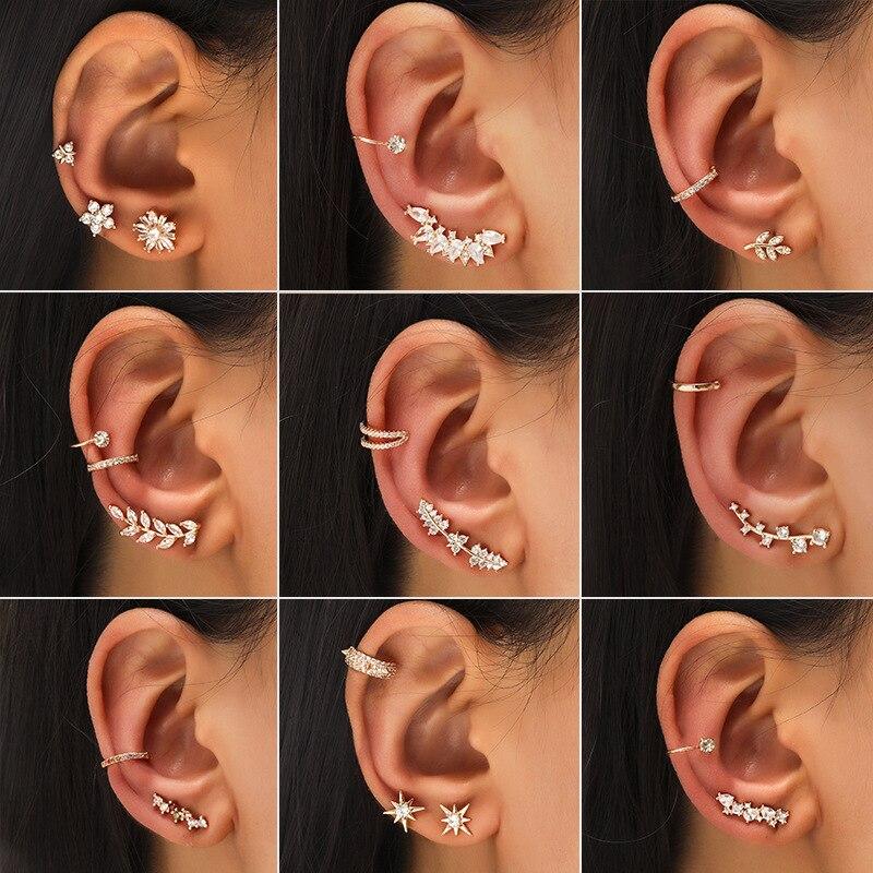Bohemian NO Piercing Crystal Rhinestone Ear Cuff Wrap Stud Clip Earrings For Women Girl Trendy Earrings Jewelry Bijoux