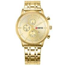 Northแบรนด์หรูนาฬิกาข้อมือผู้ชายนาฬิกากันน้ำปฏิทินนาฬิกาผู้ชายGoldenโบราณCasualชายนาฬิกา