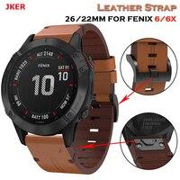 JKER 22 26mm Leder QuickFit Uhr Band Strap Für Garmin Fenix 6X 5X 3 3HR Armband Strap Für Garmin fenix 6 5 935 945 Uhr