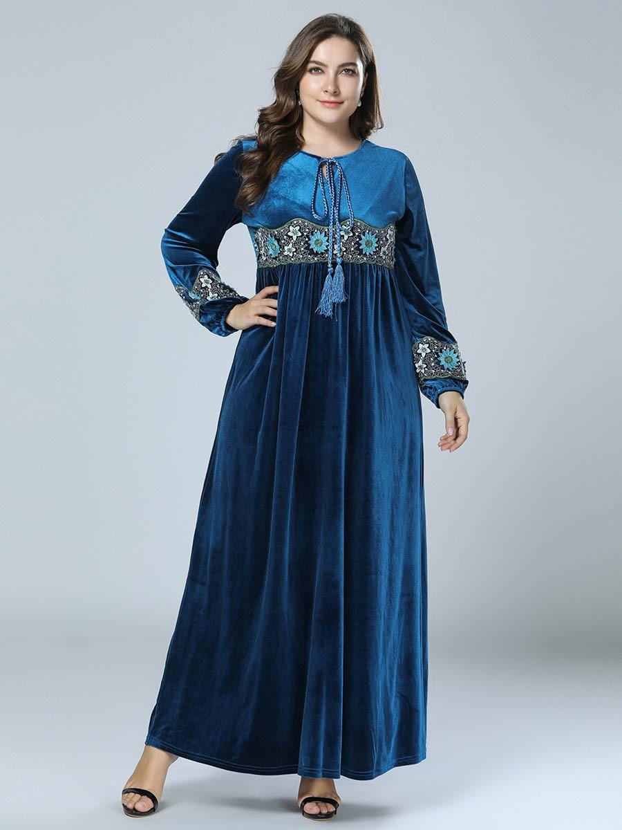 7300 Large Size Dress AliExpress Embroidery Velvet Long Dress Solid Color Long Skirts Skirt
