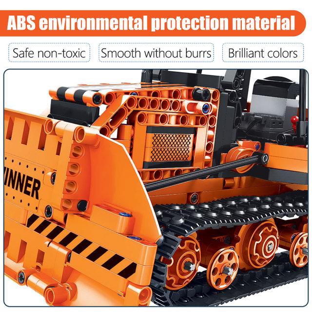 775pcs City Electric Car RC Bulldozer Building Blocks  Technic Remote Control Engineering Truck Bricks Toy For Children