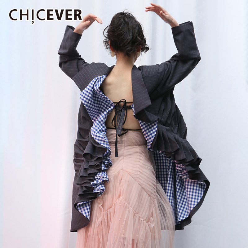 CHICEVER Korean Patchwork Asymmetrical Women's Blazer Notched Collar Long Sleeve Lace Up Hit Color Suits Female 2020 Clothes New