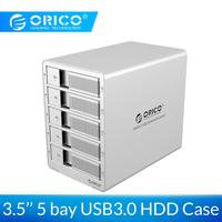 ORICO Aluminum USB3.0 5 bay 3.5 inch SATA Hard Drive Enclosure 40TB Max With Power Adapter HDD Case Tool Free