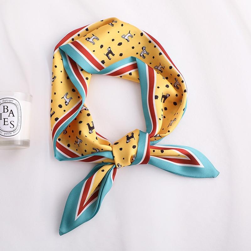 Fashion Animal Print Women Silk Scarf Small Handle Bag Ribbons Handkerchief Female Hair Scarves Foulard Yellow 90*10cm