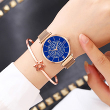 Rose Gold Blue Mesh Stainless Steel Dail Watches Women Top Brand Luxury Casual Clock Ladies Wrist Watch Relogio Feminino 2019