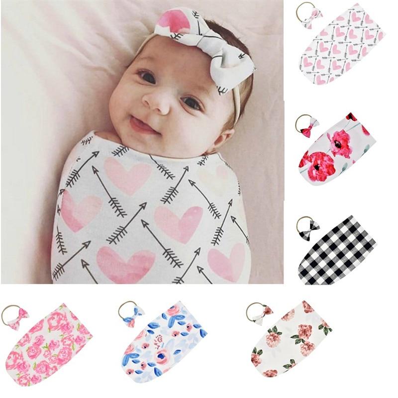 Newborn Photography Prop Infant Baby  Boys Girls Sleeping Bag Swaddle Sack Muslin Wrap +Headband 2PCS