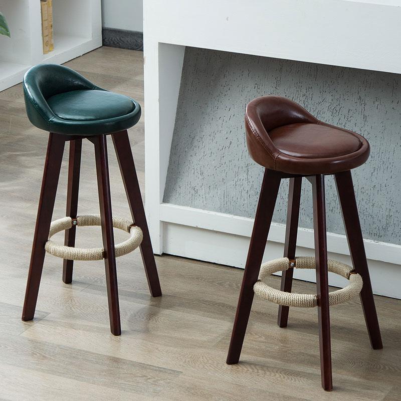 Bar Stool Nordic Modern Minimalist Home Solid Wood Bar Chair High    Backrest Leisure