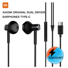 XIAOMI Original Dual Driver Earphones Type-C USBmacho en la oreja cable Half In-Ear Earphones Black White Android huawei все цены