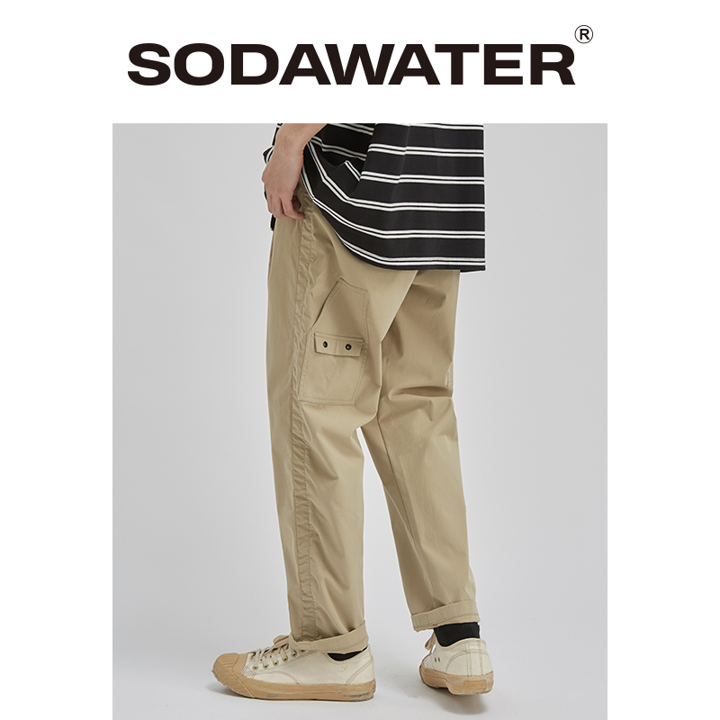 SODAWATER 2020 Spring New Men Pants Cargo Pant Fashion Trousers Loose Fit Elastic Waist Streetwear Brand Men's Clothing 3062S20