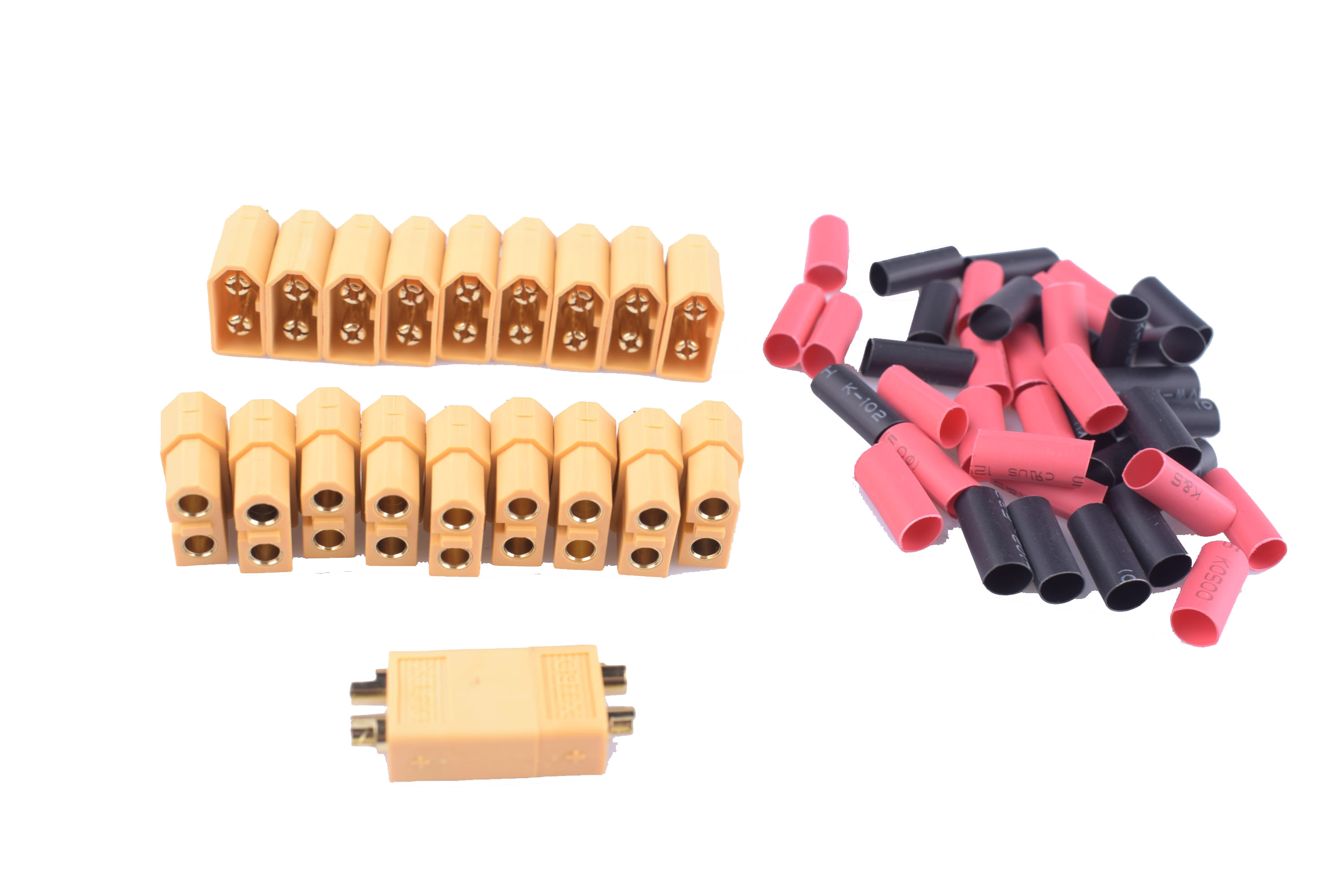 10paris XT60 Battery Connector For Rc Plane And Car Male And Female With 3.5mm Good Gold Plated  Plugs With 4mm Shrink Tube