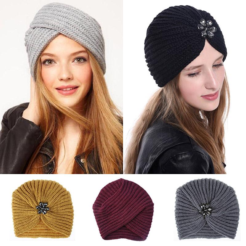 Women Bohemian Style Warm Winter Autumn knitted Cap Fashion Boho Soft Hair Accessories Turban Solid Color female Muslim hat