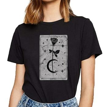 Camiseta con estampado Vintage de tarot karte la luna para mujer, ropa gótica con luna, rosa y cuello redondo