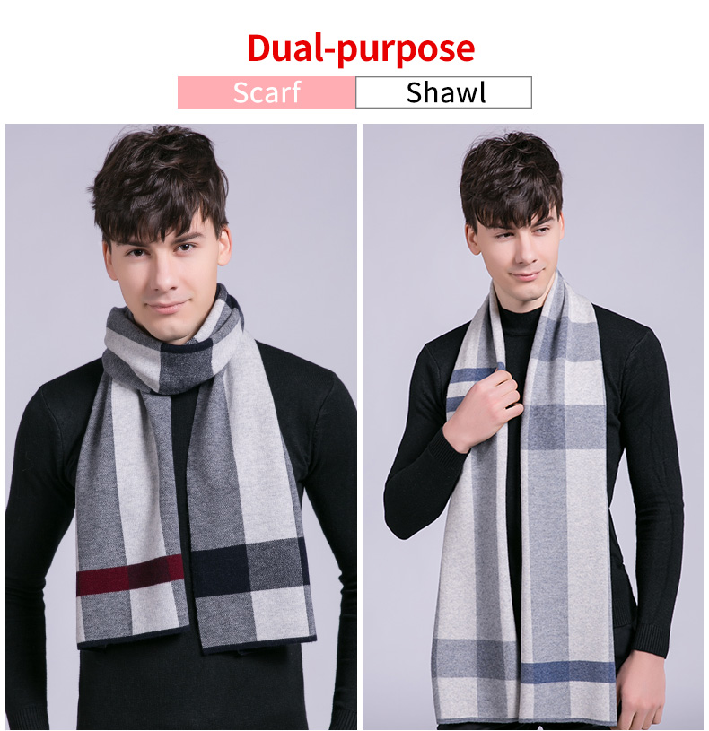 100% Real Wool Scarf for Men Winter Plaid Warm Echarpe Wraps Luxury Pashmina Elegant Foulard Pure Wool Male Cashmere Scarves