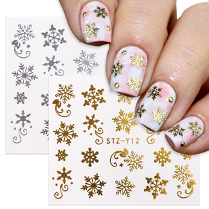 4/2/1pc Snowflake Nail Sticker Christmas Water Sliders For Gold Silver Nails Art Winter Deer Snow Manicure Decoration BESTZ-YA-2