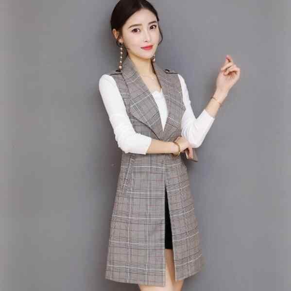 אביב ארוך בליזר נשים משרד רזה יחיד כפתור משובץ נשים חליפת אפוד Harajuku בציר חזייה ללא שרוולים מעיל DV514