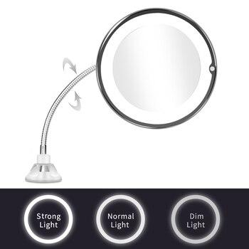 3Lights Adjust LED Makeup Mirror with Led Light Espejo Flexible Led Mirror Vanity Mirror Magnifying Mirrors Light Espelho Miroir folding makeup mirror with led light 5 times magnifying cosmetic mirror beauty ring light mirror photo fill light small mirrors