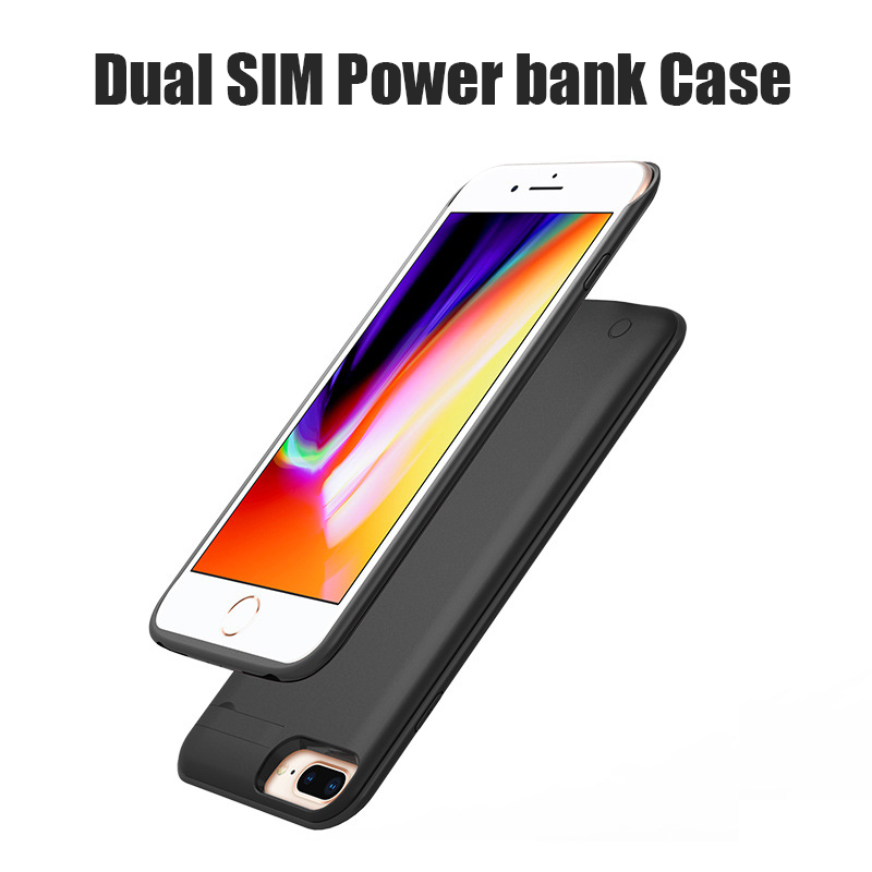 3000mAh <font><b>Dual</b></font> <font><b>Sim</b></font> Card Smart Bluetooth Cases for <font><b>iphone</b></font> 6 6S <font><b>8</b></font> 7 Plus Slim DSDS Cover for <font><b>iphone</b></font> 8P <font><b>Dual</b></font> <font><b>SIM</b></font> <font><b>Dual</b></font> Standby image