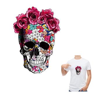 Kwiat czaszka głowy naklejki Diy Patche dla chłopców dziewcząt odzież naklejki naprasowane mody naszywki nadają się do prania naklejki przenikania ciepła tanie i dobre opinie CN (pochodzenie) 5 3x7 5cm HANDMADE Przyjazne dla środowiska PRINTED Plastry Do przyprasowania DZ194-S Patches Parches Stickers