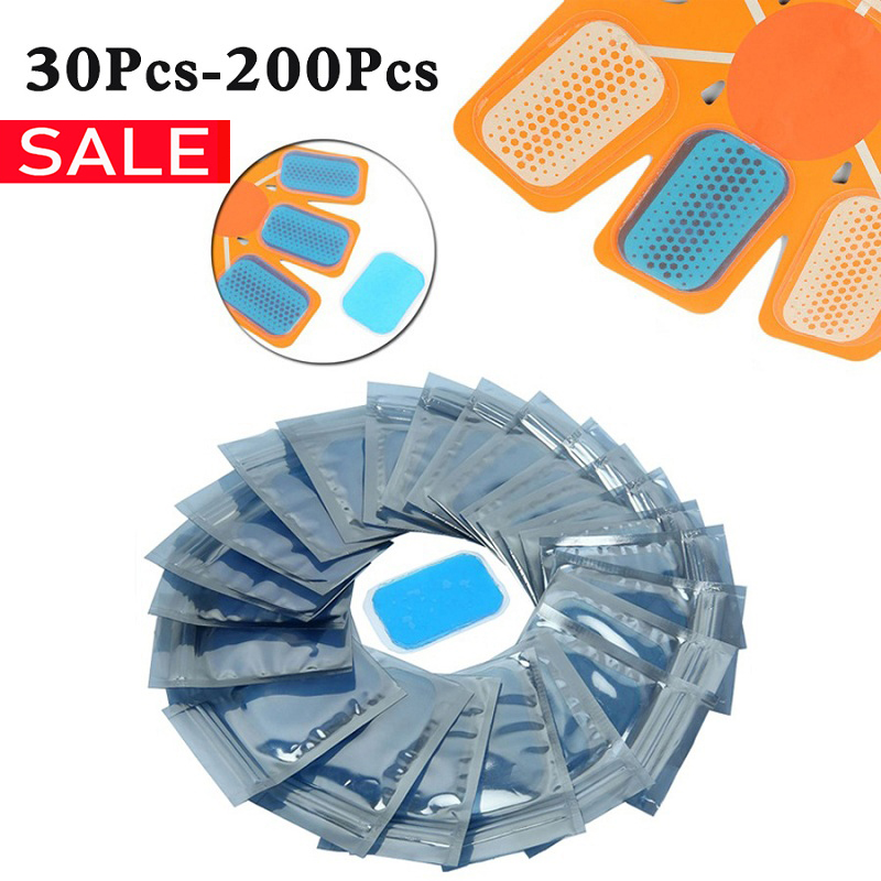 30-200pcs Gel Pads For ABS Trainer EMS Hip Abdomen Muscle Stimulator Slimming Massage Replacement Patch For Hydroge Stickers