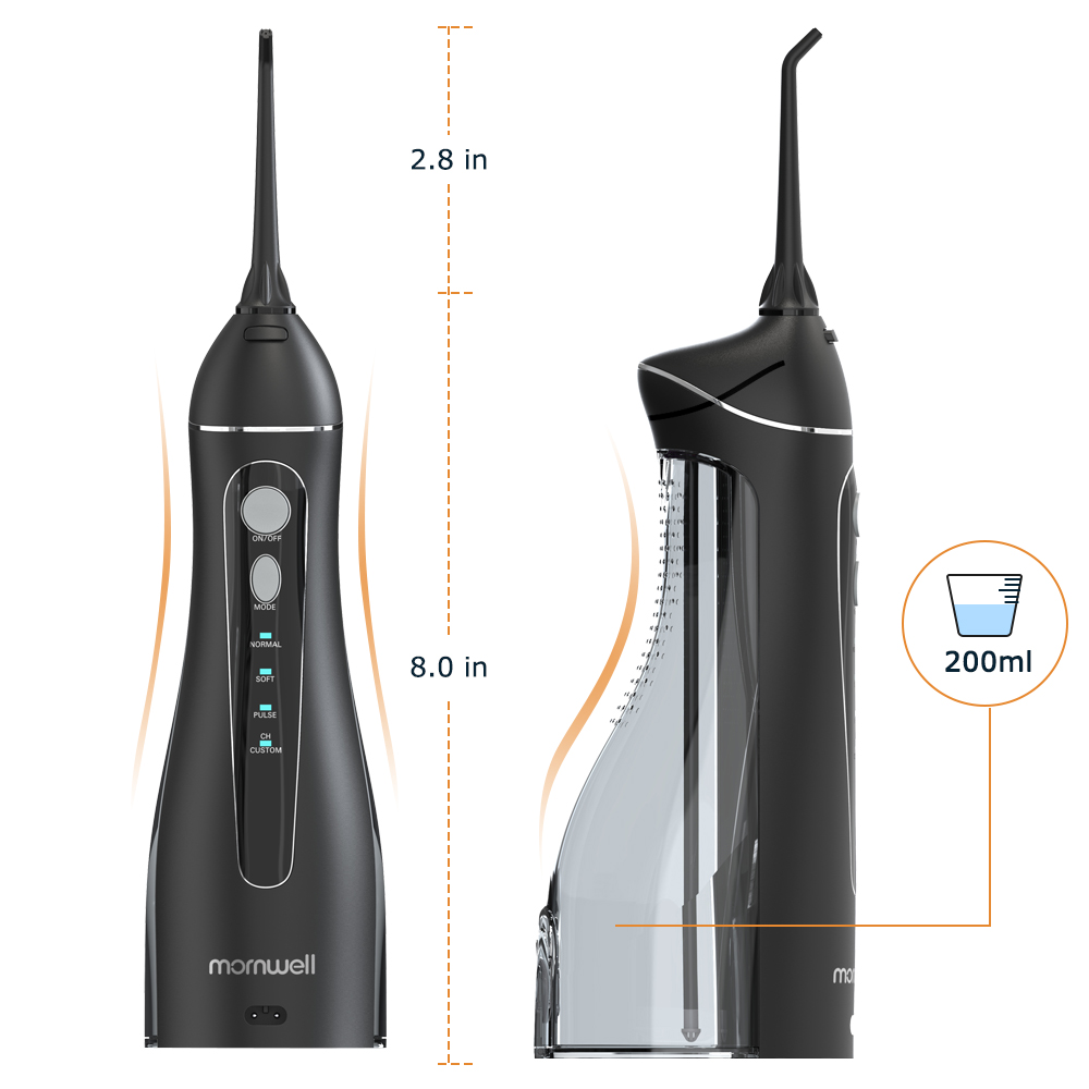 Mornwell Portable Oral Irrigator With Travel Bag Water Flosser USB Rechargeable 5 Nozzles Water Jet 200ml Water Tank Waterproof 5