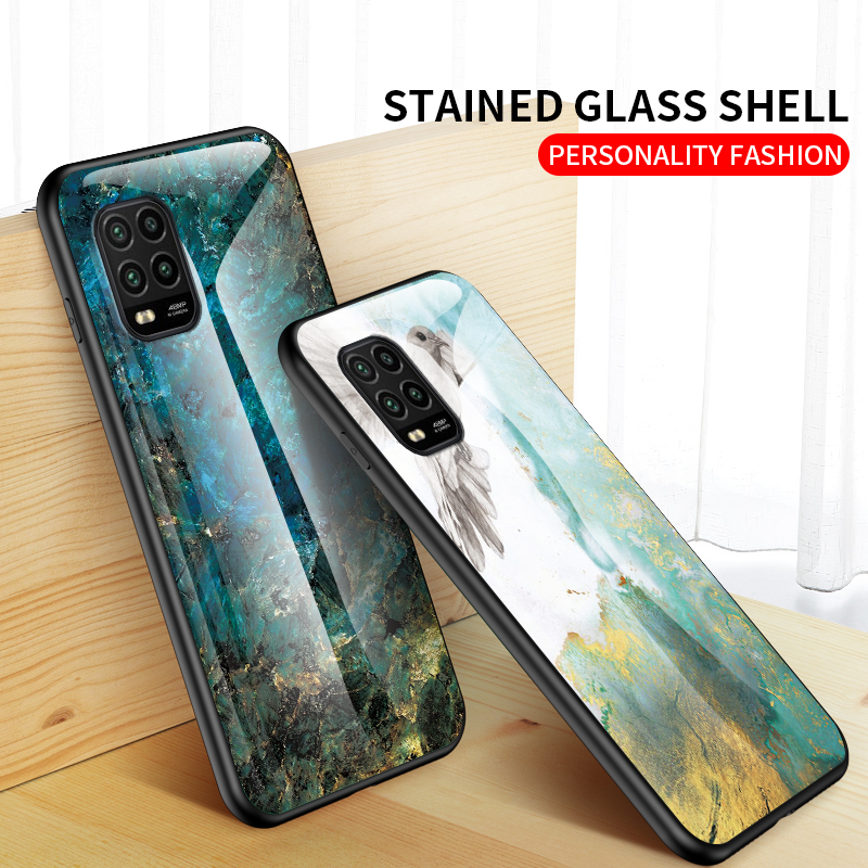 Tempered Glass Case For Xiaomi Mi 10 Lite Zoom Marble Texture Case Back Cover For Xiaomi Mi 10Lite Fashion Gradation Phone Cover