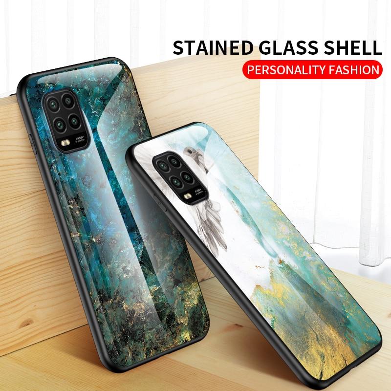 Tempered Glass Case For Xiaomi Mi 10 Lite Zoom Marble Texture Case Back Cover For Xiaomi Mi 10Lite Fashion Gradation Phone Cover
