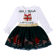 Christmas Girls Suit Long Sleeve T-shirt + Mesh Skirt Two Piece Set Toddler Girl Outfits