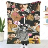 Finn-Wolfhards Collage Plaid Blankets Coral Fleece Decoration Actor Portable Warm Throw Blanket for Sofa Bedroom Bedding Throws