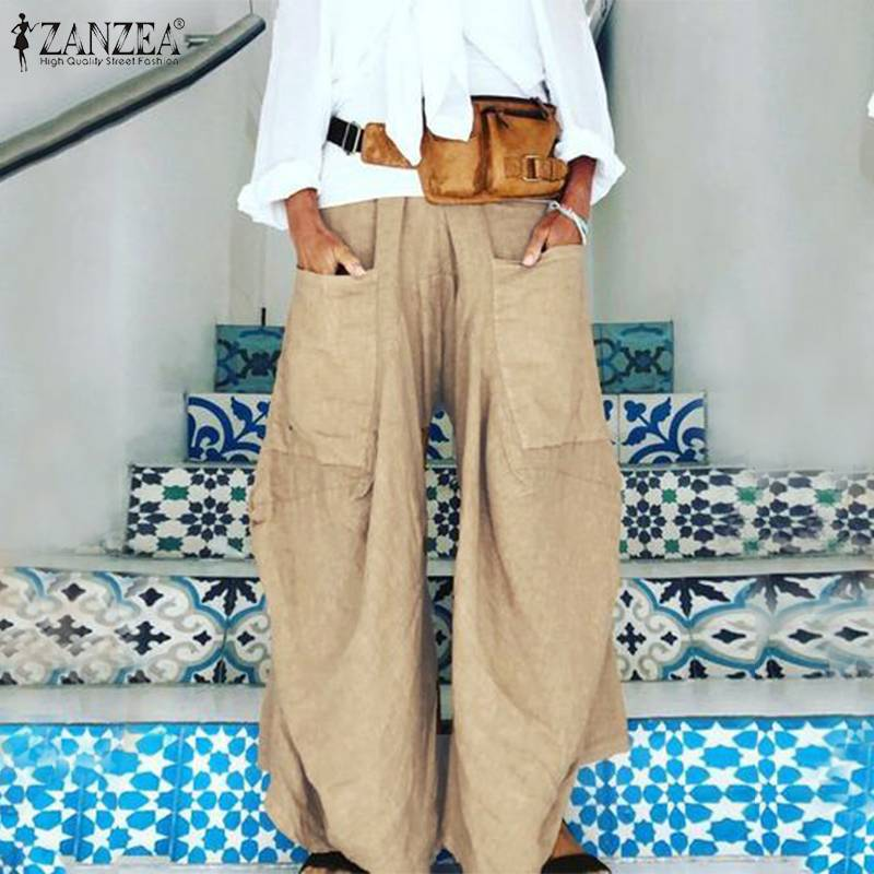 2019 ZANZEA Fashion Women's Summer Trousers Casual   Wide     Leg     Pants   Solid Elastic Waist   Pant   Female Front Pockets Pantalon Palazzo