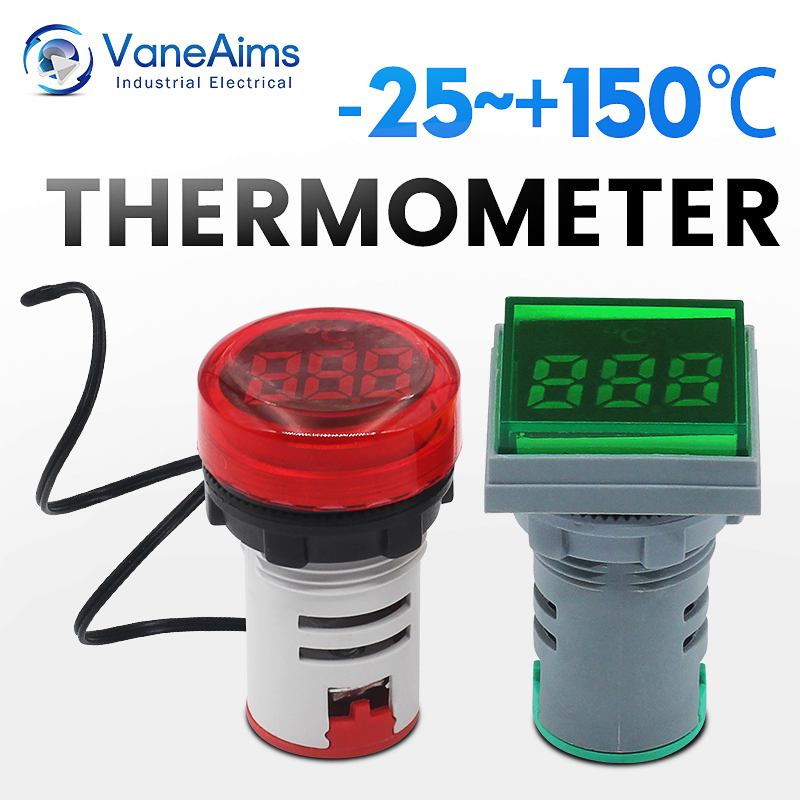 Small thermometers, square and round, used to measure the temperature of liquids and air LED digital thermometers Minus 25℃150