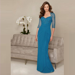 Glamorous Chiffon Blue Beading Bodice Mother of the Bride Dresses Plunge Neckline Wedding Party Gowns With 3/4 Sleeves