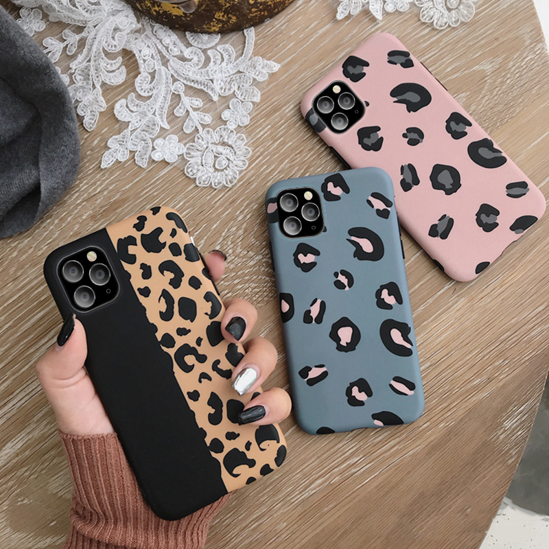 USLION Leopard Print Phone Case For iPhone 11 X XR XS Max Soft Back Cover Shockproof Fashion Cover For iPhone 6 6S 7 8 7Plus