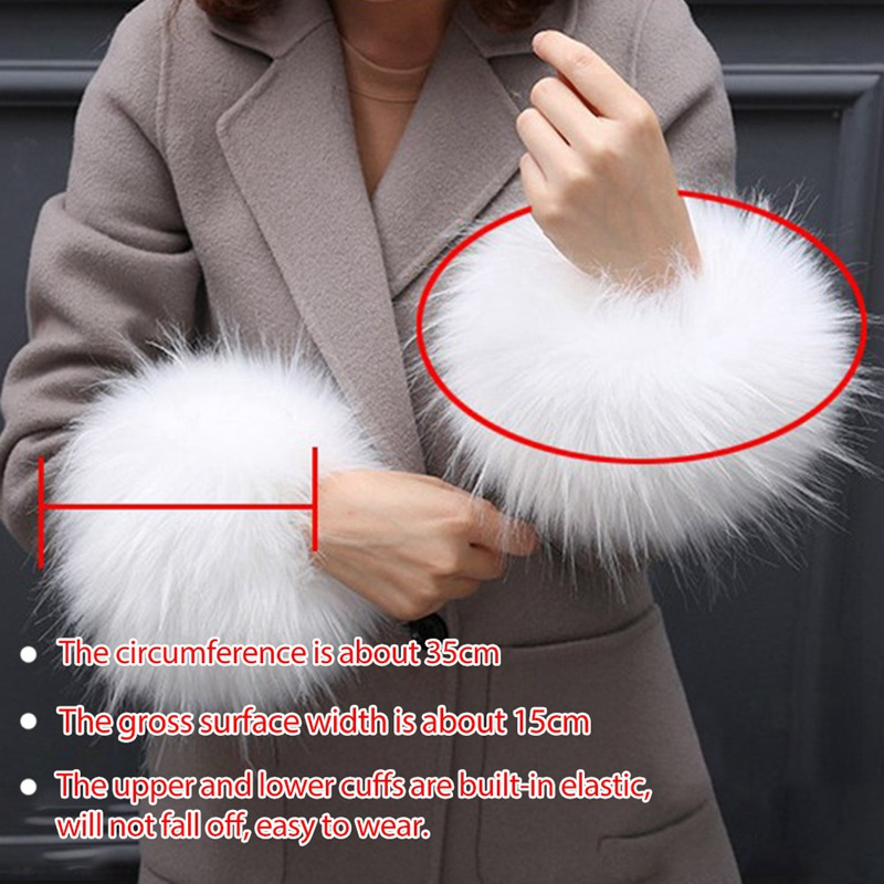 1 Pair Women Thick Wrist Arms Gloves  Female Elastic Oversleeve Faux Fur Plush Windproof Cuffs Wristband Winter Arm Warmer