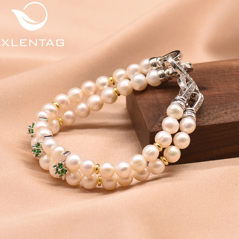 XlentAg High Quyality Natural Fresh Water Pearl Green Zircon Bracelet For Women Girl Lovers' Engagement Fine Jewellery GB0173A